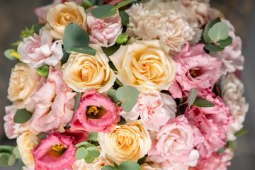 Foto op Canvas Bloemen Close up Beautiful bouquet of mixed flowers. the work of the florist at a flower shop. Fresh cut flower.