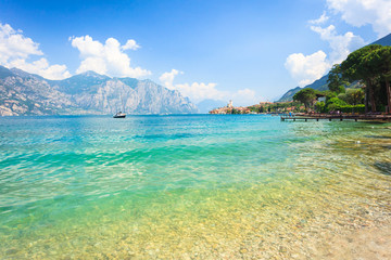 Panoramic view on lake Garda near Malcesine with a castle
