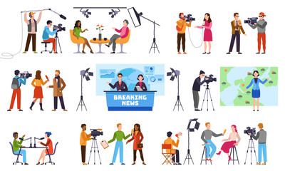 Journalists. Newscaster and journalist profession, media record. Television industry. Press interview with cameraman vector characters