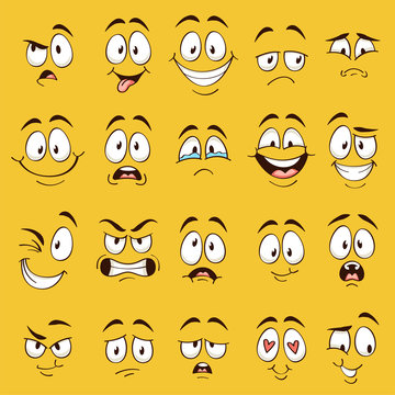 Cartoon faces. Funny face expressions, caricature emotions. Cute character with different expressive eyes and mouth, vector collection