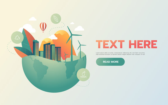 green city with green Eco Earth concept ,vector illustration.