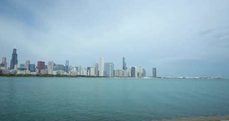 Fototapete - Chicago downtown buildings skyline over lake Michigan