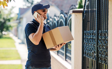 On time. Courier delivering package