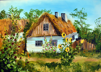 Oil painting Village house. Drawing paints a rustic motif.