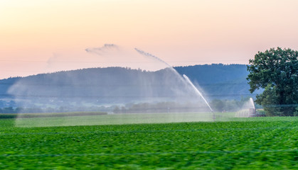 Foto op Plexiglas Groene Travelling sprinkler with hose reel irrigation machine spaying water over a farmland during a drought summer