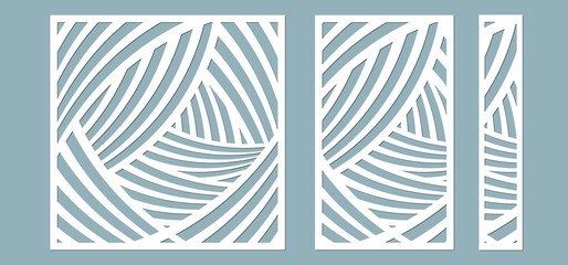 Obraz Set, panel for registration of the decorative surfaces. Abstract lines panels. Vector illustration of a laser cutting. Plotter cutting and screen printing. - fototapety do salonu