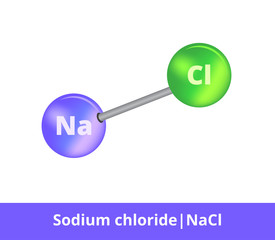 Vector ball-and-stick model of chemical substance. Icon of sodium chloride molecule commonly known as salt NaCl consisting of sodium and chloride. Structural formula with double bond isolated on white