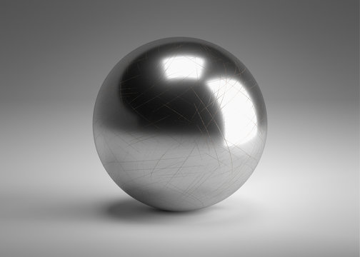 metal ball 3D model. chrom circle 3d render.  single bearing 3d image.
