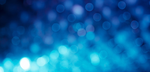 Panoramic Festive Beautiful Blue Background with bokeh lights