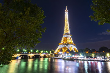 Paris, France - May 2019: Eiffel tower at night