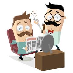 funny cartoon illustration of a man at the barber shop