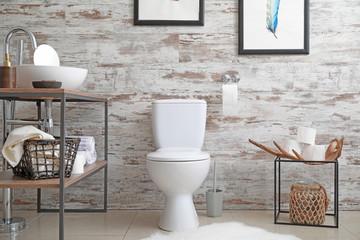 Interior of clean modern bathroom