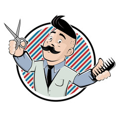 funny barber shop sign in cartoon style