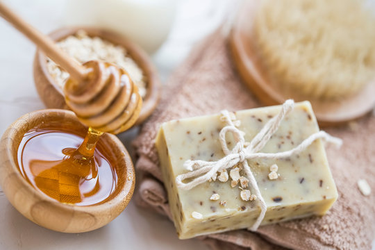 Natural soap with oats, milk and honey
