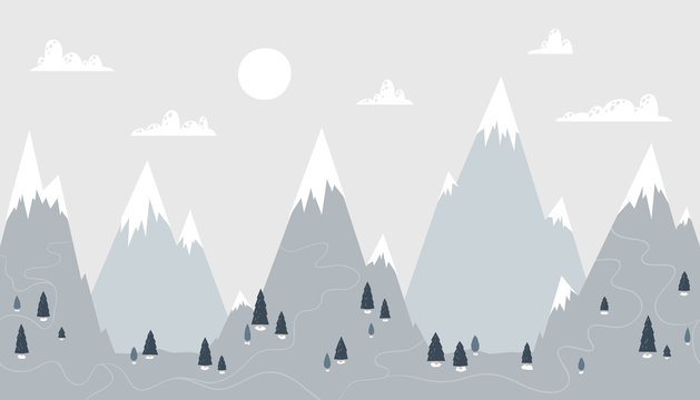 Mountain landscape in a trendy Scandinavian style. Snowy peaks in the clouds with spruce forest and roads. Vector seamless border perfect for wallpaper in a nursery. Pastel palette