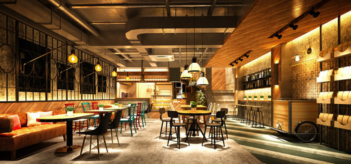 Foto op Canvas Restaurant 3d render cafe restaurant