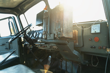 Inside interior view of military or army truck cabin