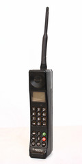 Kyiv, Ukraine - December 8, 2016: Motorola International 3200, the first digital hand-size GSM mobile telephone released in 1992. The handset couldn't receive or send SMS messages.