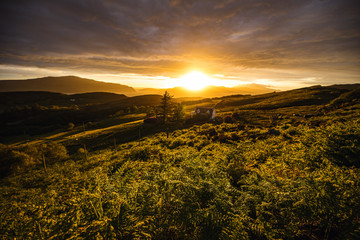 Foto auf AluDibond Durre Beautiful scenic landscape of Scotland nature with beautiful evening sun set sky.