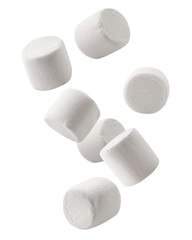 Falling marshmallow isolated on white background, clipping path, full depth of field