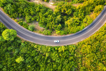 Aerial view of road with car in beautiful forest at sunset in summer. Colorful landscape with asphalt road, trees with green leaves. Highway through the park. Top view. Natural colors.  Nature