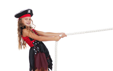 Close-up picture of a pirate girl pulling the rope