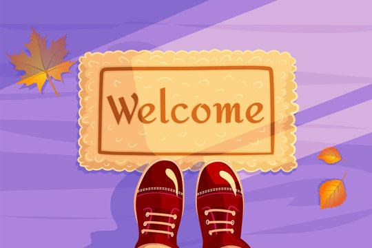 Welcome doormat with Yellow leaves and red shoes. Hello Autumn season background. Horizontal concept of Greeting card and invitation banner. Color flat visit illustration. Guest design vector.