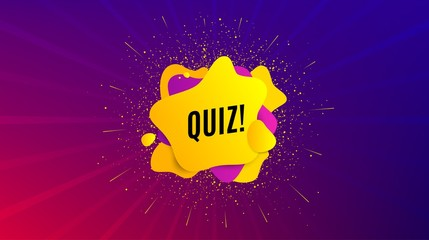 Quiz symbol. Dynamic text shape. Answer question sign. Examination test. Geometric vector banner. Quiz text. Gradient shape badge. Colorful background. Vector