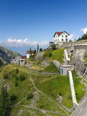Gerola Alta, Sondrio, Italy, August 18, 2019 - Dam of Trona (1815 m), managed by Enel energy company