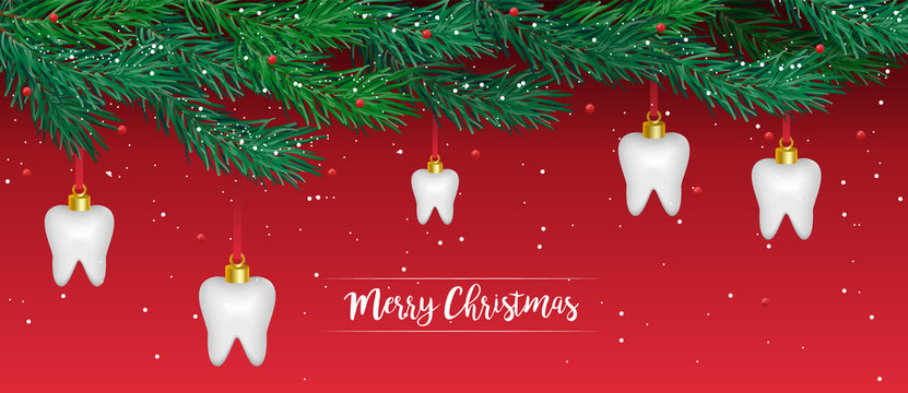 Dental Christmas card. Christmas dental card. Happy new year teeth. Tooth christmas and happy new year. Tooth vector christmas background.