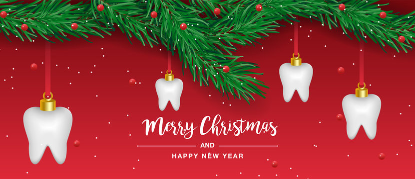 Christmas tooth and happy year celebrate with Christmas tree. Dental care concept. Illustration vector background. Tooth Christmas tree. Vector dental happy new year and Christmas card
