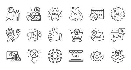 Discount line icons. Shopping, Sale and New. Hot offer linear icon set. Quality line set. Vector