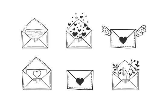A set of envelopes. Vector illustration of hands in doodle style. Drawings of letters