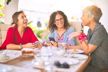 Meeting of middle age women having lunch and drinking coffee. Mature friends smiling happy using...
