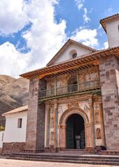 Exterior facade of the Barroque-style church of Andahuaylillas, near Cusco, Peru