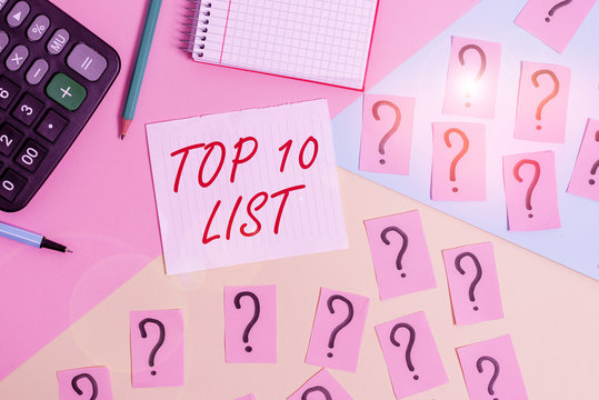 Word writing text Top 10 List. Business photo showcasing the ten most important or successful items in a particular list Mathematics stuff and writing equipment above pastel colours background