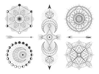 Vector set of Sacred geometric symbols and figures on white background. Abstract mystic signs collection. Black linear shapes.