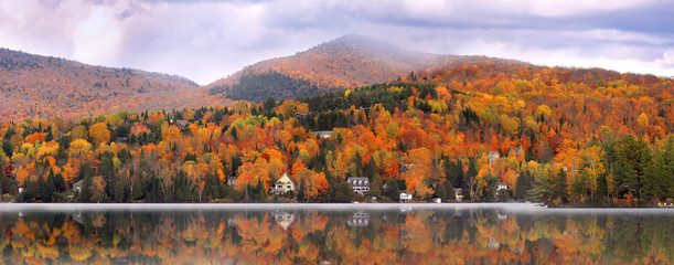 Aluminium Prints Canada Panoramic view of Mont Tremblant village in autumn time