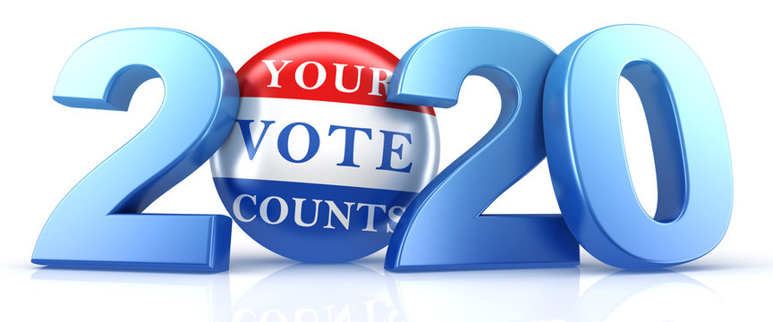 Vote 2020. Red, white, and blue voting pin in 2020 with Your Vote Counts text. 3d render.