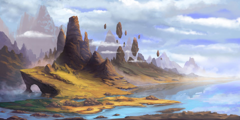 Wall Murals Blue sky The Mountains. Fantasy Fiction Natural Backdrop. Concept Art. Realistic Illustration. Video Game Digital CG Artwork. Nature Scenery.