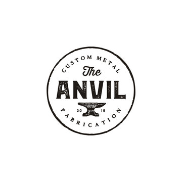 Blacksmith Iron Anvil Foundry vintage retro logo design
