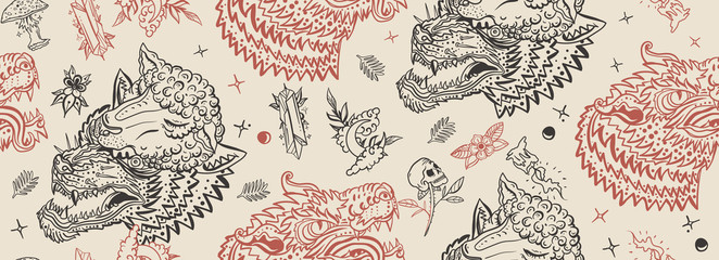 Wolf head seamless pattern. Old school tattoo art. Werewolf in sheep clothing. Aggressive wolves traditional tattooing background. Magic fairy tale style