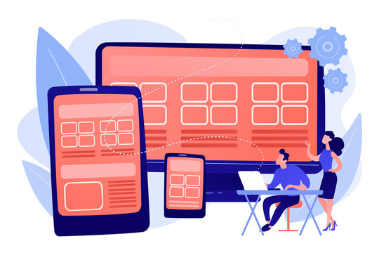 Adaptive mobile app interface, web optimization. Responsive web design, responsive website development, good UX for all screens concept. Pink coral blue vector isolated illustration