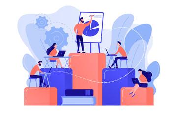 Fototapeta Employees with laptops learning at professional trainig. Internal education, employee education, professional development program concept. Pinkish coral bluevector isolated illustration obraz