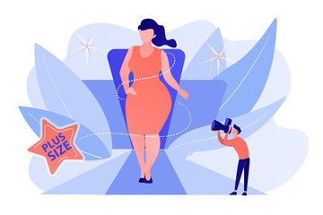 Photographer taking photos of plus size model in runway fashion show. Plus size models, body positive fashion, plus-size clothing modeling concept. Pinkish coral bluevector isolated illustration