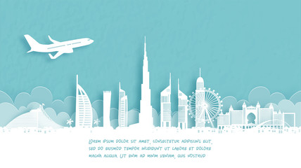 Fototapete - Travel poster with Welcome to Dubai famous landmark in paper cut style vector illustration.