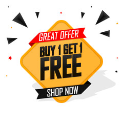 Buy 1 Get 1 Free, Sale banner design template, great offer, discount tag, app icon, vector illustration