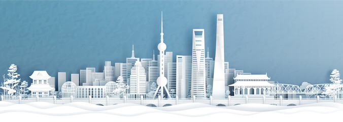 Fototapete - Panorama view of Shanghai skyline with world famous landmarks of China in paper cut style vector illustration.