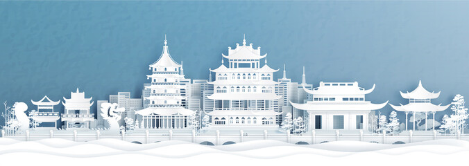 Wall Mural - Panorama view of Hangzhou skyline with world famous landmarks of China in paper cut style vector illustration.
