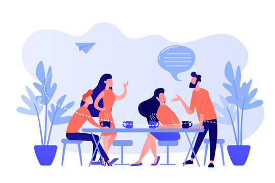 Group of friends sitting at the table talking, drinking coffee and tea, tiny people. Friends meeting, cheer up friend, friendship support concept. Pinkish coral bluevector isolated illustration